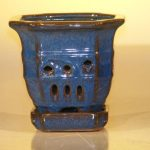 Blue Ceramic Orchid Pot – Multi-Sided 5.0 x 5.125 With Attached Tray Sized to fit 4.0 Plastic Growing Pot