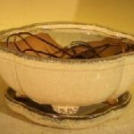 Beige Ceramic Bonsai Pot Lotus Shaped Professional Series Oval with Attached Humidity/Drip Tray 6.37 x 4.75 x 2.625