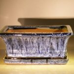 Marble Blue Ceramic Bonsai Pot – Rectangle Professional Series with Attached Humidity/Drip tray 8.5 x 6.5 x 3.5