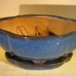 Blue Ceramic Bonsai Pot- Oval Lotus Shape Professional Series 10.5 x 9.0 x 5.0