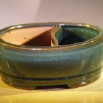 Blue/Green Ceramic Bonsai Pot Land/Water Divider 10 x 7.5 x 4