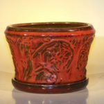 Parisian Red Ceramic Bonsai Pot – Round Attached Matching Humidity/Drip Tray 9 x 5.5 Tall