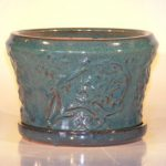 Blue/Green Ceramic Bonsai Pot – Round Attached Matching Tray 9×5.5
