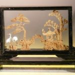 Handmade Cork Carving Encased in Glass In Wooden Display Case