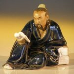 Miniature Ceramic Figurine Man Reading Book – Blue Robe (Small)