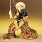 Miniature Ceramic Fisherman Figurine Fisherman Sitting On A Log – Blue Color