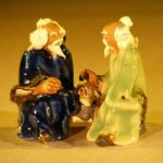 Miniature Ceramic Figurine Two Men Sitting at a Table with Fine Detail Color:Blue & Green