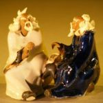 Miniature Ceramic Figurine Two Men Sitting at a Table with Fine Detail Color: White & Blue