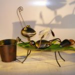 Metal Ant Garden Pot Decoration with Movable Head and Attached Pot Holder 17.0 x 5.0 x 12.0 Tall