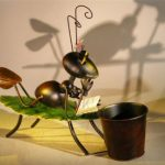 Metal Ant Garden Pot Decoration with Movable Head and Attached Pot Holder 16.0 x 5.0 x 14.0 Tall