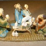 Miniature Ceramic Figurine: Three Men Sitting at a Table – Fine Detail