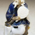 Ceramic Miniature Figurine Man a Fan Fine Detail