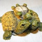 Miniature Turtle Figurine Three Turtles – With Baby Turtle on Back