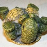 Minature Turtle Figurine Three Turtles – Two Baby Turtles on Stomach