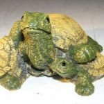Miniature Turtle Figurine Three Turtles – One climbing on Back