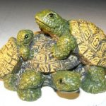 Miniature Turtle Figurine Three Turtles – Two climbing on back