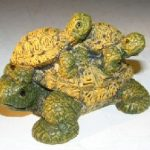 Miniature Turtle Figurine Three Turtles – Two Turtles Sitting on Back