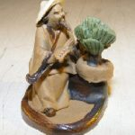 Man Trimming Bonsai Tree Ceramic Mud Figurine
