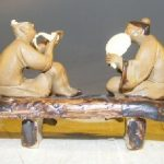 Miniature Ceramic Figurine Two Men Sitting on a Bench