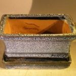 Marble Blue Ceramic Bonsai Pot – Rectangle Professional Series with Attached Humidity/Drip tray 6.37 x 4.75 x 2.625
