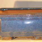 Blue Ceramic Bonsai Pot – Rectangle Professional Series 10 x 8 x 4