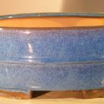 Blue Ceramic Bonsai Pot – Oval Professional Series 10 x 8 x 4