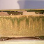 Green Ceramic Bonsai Pot – Rectangle Professional Series 10 x 8 x 4