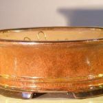 Aztec Orange Ceramic Bonsai Pot – Oval Professional Series 10 x 8 x 4