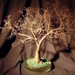 Wire Bonsai Tree Sculpture – Copper Oak With Hammered Leaves 19Hx18Wx18D
