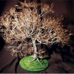 Wire Bonsai Tree Sculpture – Dogwood on Lawn 19Hx19Wx21D