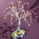 Wire Bonsai Tree Sculpture Beaded Mini Tree – 4x4x4