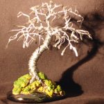 Wire Bonsai Tree Sculpture Hammered Leaves Mini Tree – 4x4x4
