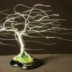 Wire Bonsai Tree Sculpture Windswept Mini Tree – 4x5x5