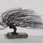 Wire Bonsai Tree Sculpture – Windswept Style